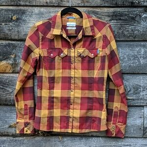Columbia Omni-Wick Snap Front Plaid Long Sleeve
